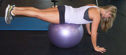 Core workouts on a Swiss ball